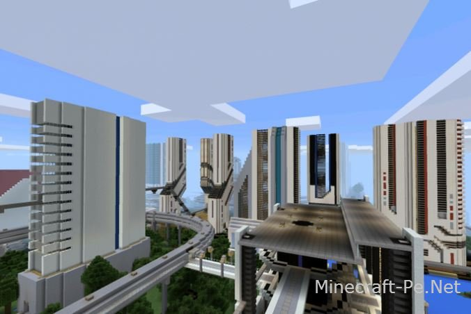 Карта Футуристический город для Minecraft PE]