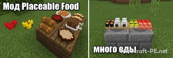 Мод Placeable Food [1.6] [1.4] [1.2] (Много еды)