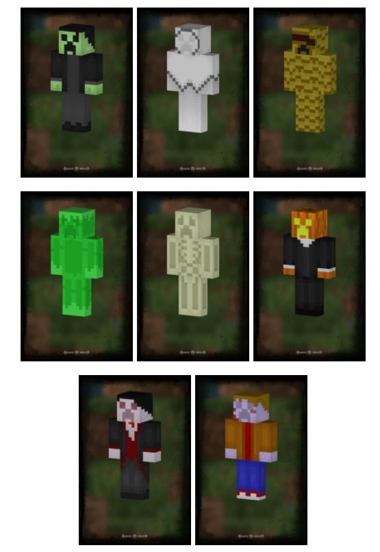 Скин пак Spooky Creepers (8 жутких скинов)